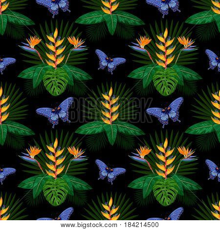 Tropical seamless pattern with flowers, leaves and butterfly. Tropic floral wallpaper on black background. Jungle textile print.