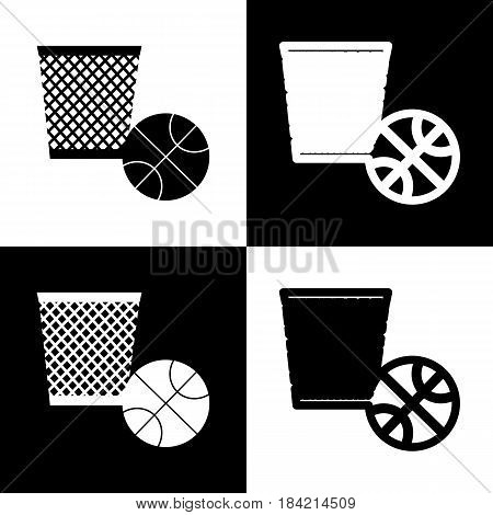 Trash sign illustration. Vector. Black and white icons and line icon on chess board.