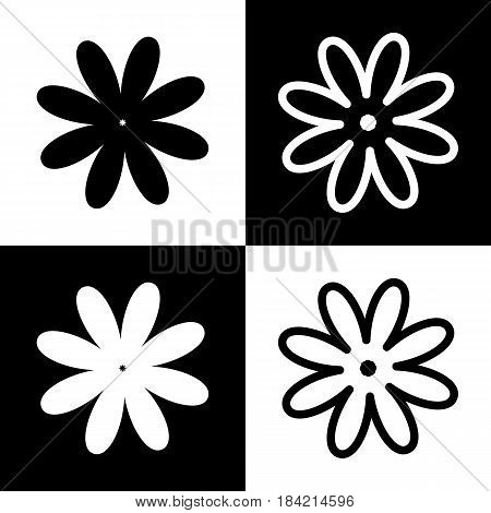 Flower sign illustration. Vector. Black and white icons and line icon on chess board.