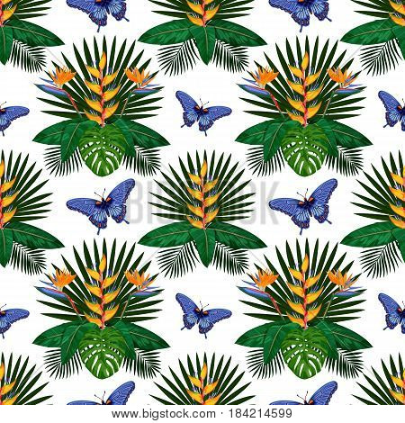 Tropical seamless pattern with flowers, leaves and butterfly. Tropic floral wallpaper on white background. Jungle textile print.