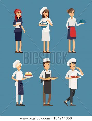 Line-up group of restaurant staff characters in trendy flat design, vector. Chef, assistants, manager or host, waitress or hostess. Catering professionals team personages