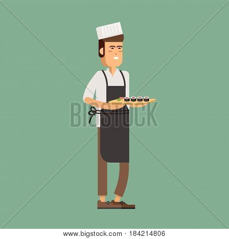 Sushi chef holding sushi. Vector illustration young male character cook . Cartoon person