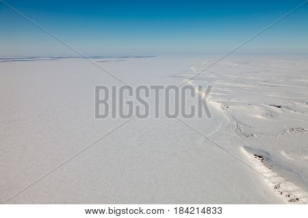 The mouth of the Great Siberian river Yenisei in winter, top view