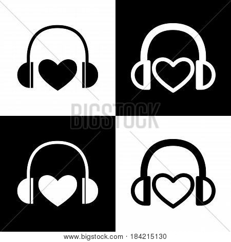 Headphones with heart. Vector. Black and white icons and line icon on chess board.