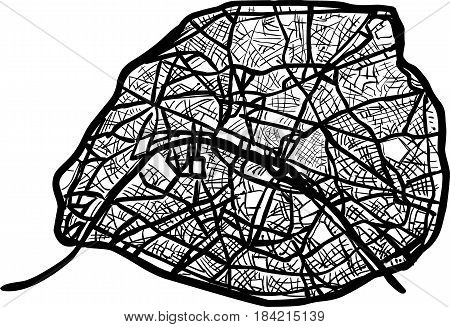 Paris city , detailed map with streets