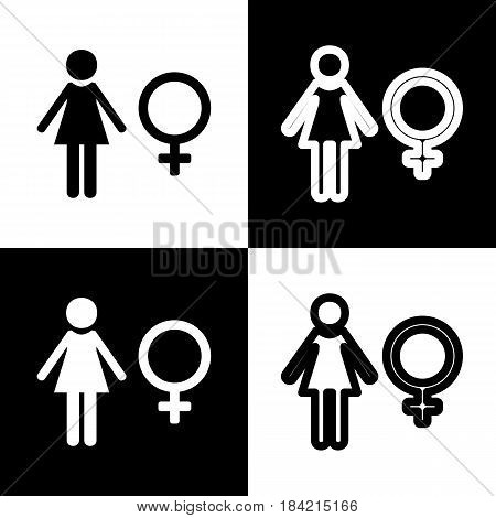 Female sign illustration. Vector. Black and white icons and line icon on chess board.