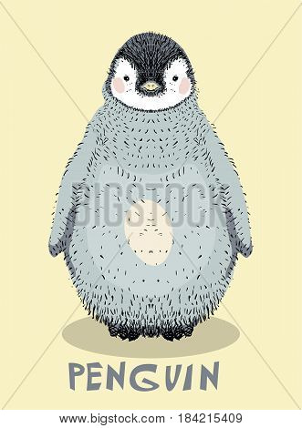 Cute baby penguin , hand drawn illustration