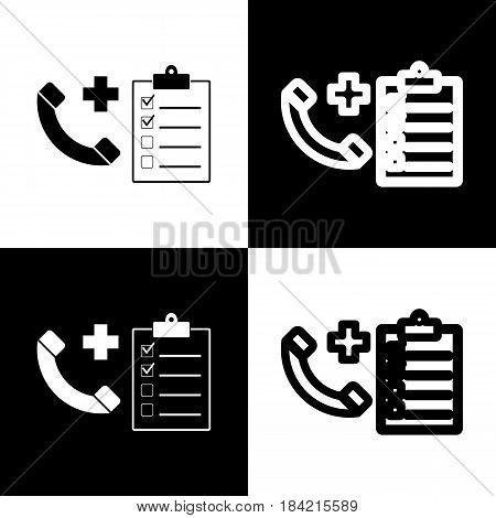 Medical consultation sign. Vector. Black and white icons and line icon on chess board.