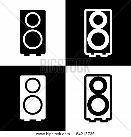 Speaker sign illustration. Vector. Black and white icons and line icon on chess board.