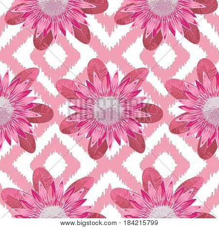 Seamless pattern of tropical pink flower protea and leaves. Tropic floral wallpaper on pink and white boho background.