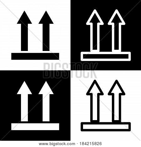 Logistic sign of arrows. Vector. Black and white icons and line icon on chess board.
