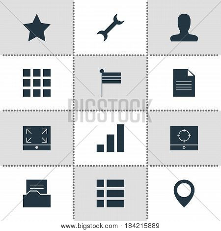 Vector Illustration Of 12 Internet Icons. Editable Pack Of Map Marker, List, Map Pointer And Other Elements.