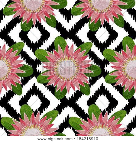 Seamless pattern of tropical flower protea and leaves. Tropic floral wallpaper on black and white boho background.