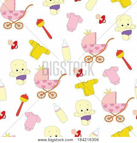 Seamless pattern with children's subject. A vector picture with a carriage, the sweetie, toys, clothes, a pacifier, a baby's dummy on a white background.