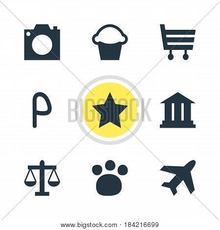 Vector Illustration Of 9 Location Icons. Editable Pack Of Cake, University, Shopping Cart And Other Elements.