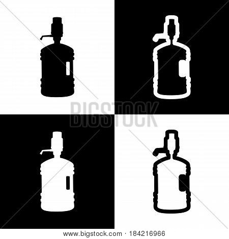 Plastic bottle silhouette with water and siphon. Vector. Black and white icons and line icon on chess board.