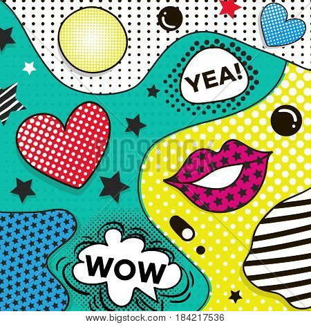 Vector background in pop art style. Trendy comic style graphic with halftone texture.