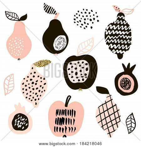 Creative fruits set. Lemon apple pear passion fruit. Vector fruits with hand drawn shapes and textures isolated on white