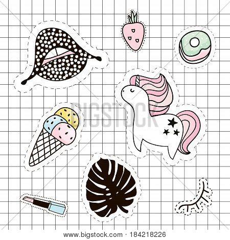 Fashion patches set. Lipsunicornpalm branchice creamlipsticklipslasheseyestrawberry. Vector elements