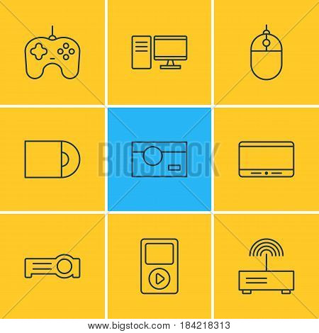Vector Illustration Of 9 Hardware Icons. Editable Pack Of Joypad, Photography, Media Controller And Other Elements.