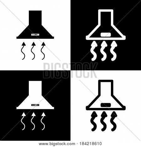 Exhaust hood. Range hood. Kitchen ventilation sign. Vector. Black and white icons and line icon on chess board.