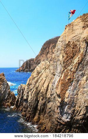 Famous diving cliff La Quebrada and Pacific Ocean in Acapulco, Mexico