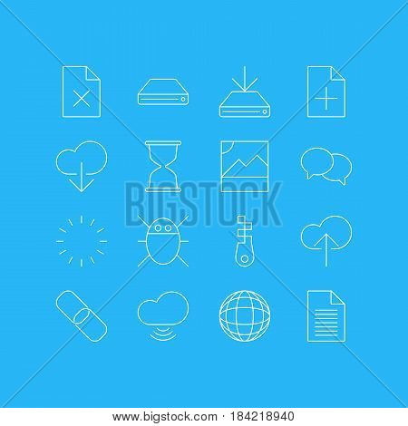 Vector Illustration Of 16 Network Icons. Editable Pack Of Chain, Wave, Delete Data And Other Elements.