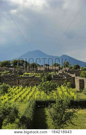 View over the ancient city of Pompeï in the south of Italy with the Vesuvius vulcano in the back