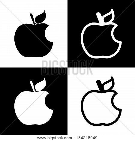 Bite apple sign. Vector. Black and white icons and line icon on chess board.