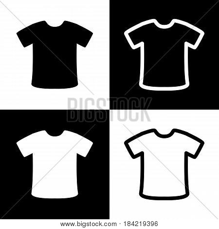 T-shirt sign. Vector. Black and white icons and line icon on chess board.