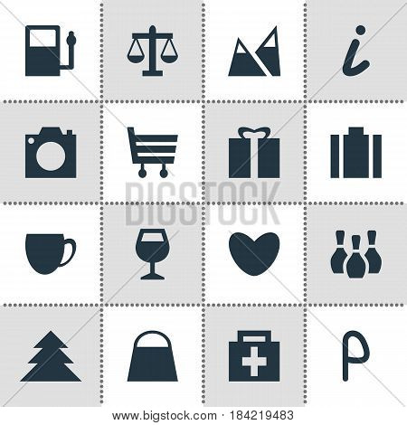 Vector Illustration Of 16 Map Icons. Editable Pack Of Wineglass, Shopping Cart, Scales And Other Elements.