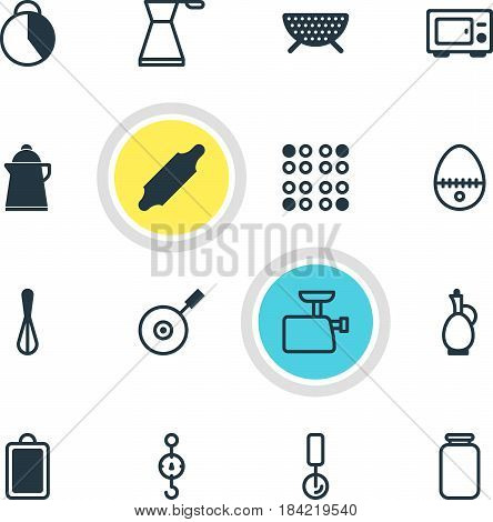 Vector Illustration Of 16 Restaurant Icons. Editable Pack Of Sieve, Timekeeper, Tea And Other Elements.