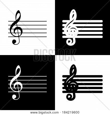 Music violin clef sign. G-clef. Vector. Black and white icons and line icon on chess board.