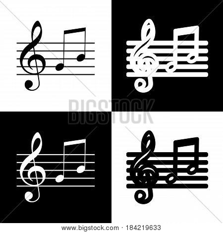 Music violin clef sign. G-clef and notes G, H. Vector. Black and white icons and line icon on chess board.