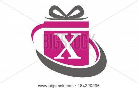 This Image describe about Gift Box Ribbon Letter X