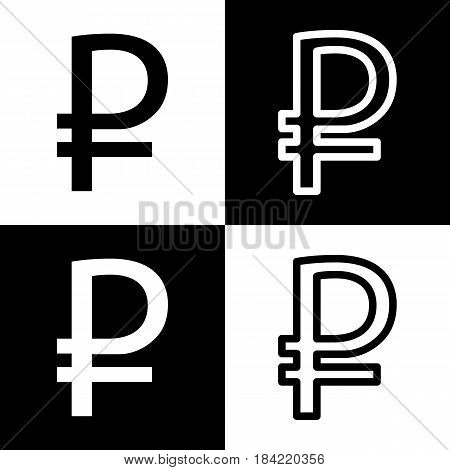Ruble sign. Vector. Black and white icons and line icon on chess board.