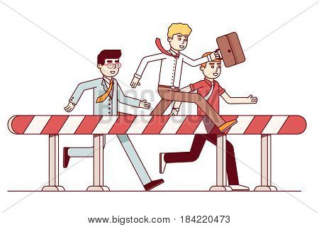 Leading businessmen hurdling. Competition in achieving the goal. Business metaphor of competitive spirit, overcoming difficulties. Modern flat style thin line vector illustration isolated on white.