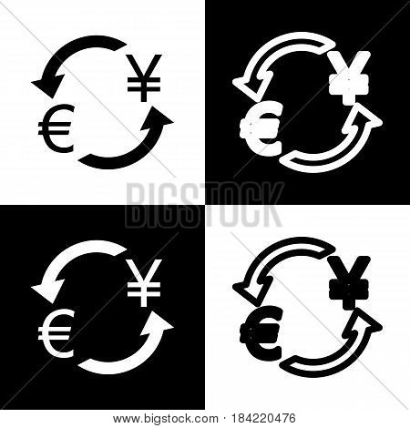 Currency exchange sign. Euro and Japan Yen. Vector. Black and white icons and line icon on chess board.