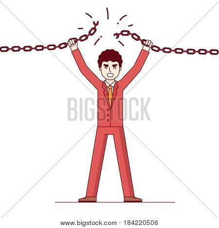 Confident businessman breaking the chain. Business concept of credit slavery. Metaphor of overcoming difficulties. Modern flat style thin line vector illustration isolated on white background.