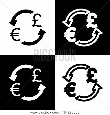 Currency exchange sign. Euro and UK Pound. Vector. Black and white icons and line icon on chess board.