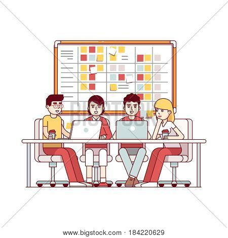 Young team working together on a IT startup business. SCRUM task board hanging in a team room full of tasks on sticky note cards. Modern flat style thin line vector illustration isolated on white.