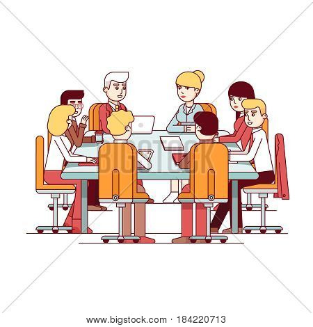 Board of Directors meeting at a big conference desk. Business executives people working and talking together. Modern flat style thin line vector illustration isolated on white background.