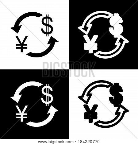 Currency exchange sign. Japan Yen and US Dollar. Vector. Black and white icons and line icon on chess board.