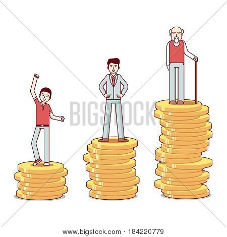 Teenager, man and old man with a walking stick standing on stacks of gold coins. Business metaphor of savings growth. Modern flat style thin line vector illustration isolated on white background.