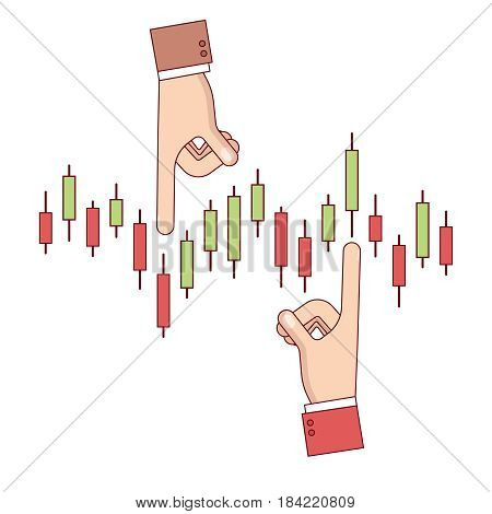 Businessman analyzing index candlestick chart of shares or equity. Business metaphor of financial investment forecasting. Modern flat style thin line vector illustration isolated on white background.