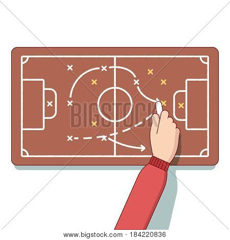 Football or hockey coach is planning an upcoming game. Business metaphor of tactics, strategy planning, coaching. Modern flat style thin line vector illustration isolated on white background.