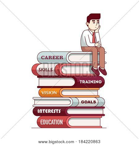 Man sitting on big books pile thinking about future. Education business metaphor, professional career establishment path. Modern flat style thin line vector illustration isolated on white background.
