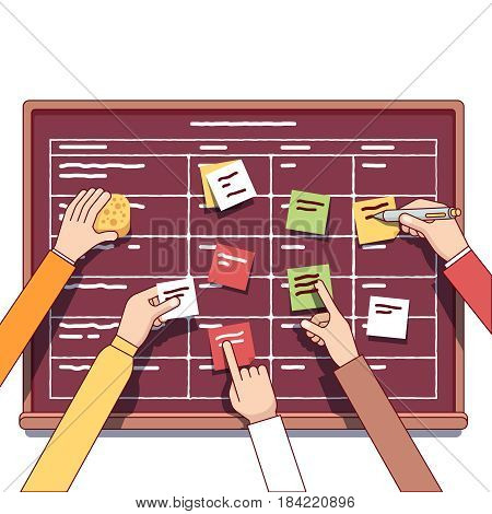 Software development team working together on a IT startup business. Scrum task board full of tasks on sticky note cards. Modern flat style thin line vector illustration isolated on white.