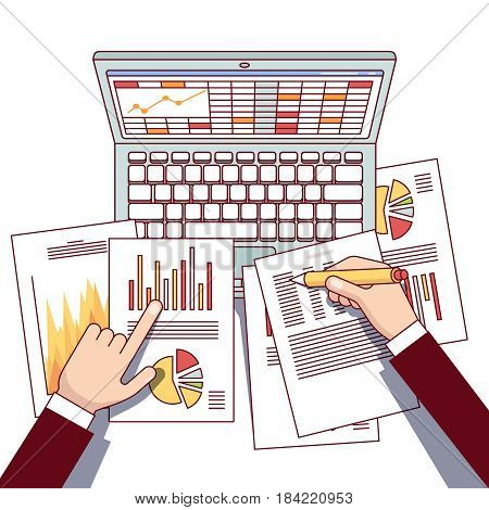 Business analyst hands holding statistical data and using laptop computer making online sales analytics report. Modern flat style thin line top view vector illustration isolated on white background.