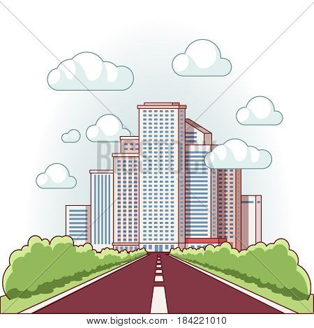 Asphalt road to a city downtown with high skyscrapers piercing clouds in the sky. Urban landscape. Modern flat style thin line vector illustration isolated on white background.